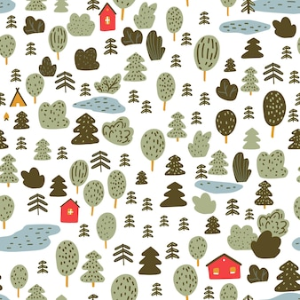 Small red cabins in forest scandinavian pattern woodland texture detailed background for wallpaper