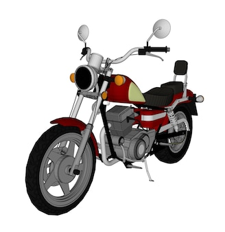 Small red classic chopper look. vector color illustration with contour lines.