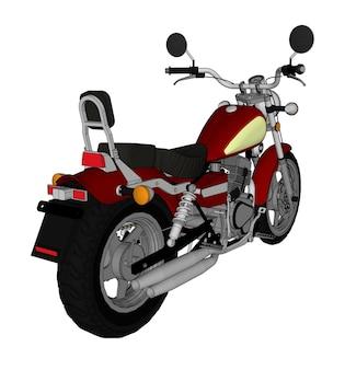 Маленький красный классический вид чоппера. векторная иллюстрация цвета с контурными линиями.