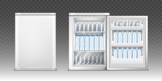 Small refrigerator with drinks