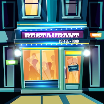 Small restaurant full of visitors at evening time on city street cartoon vector illustration. local