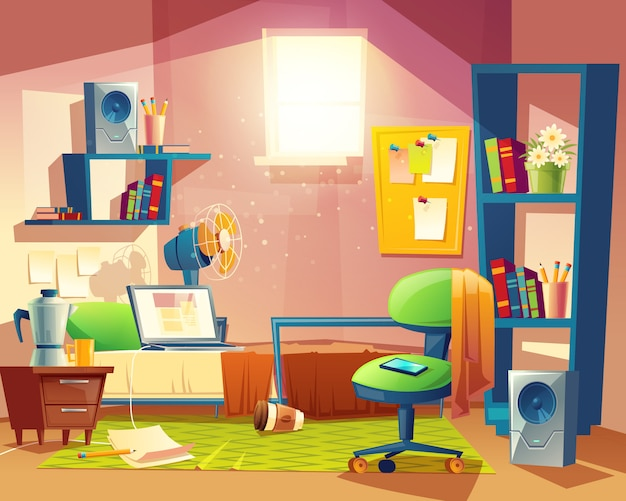 Small room with mess, cartoon bedroom, dormitory with furniture.