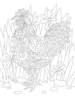 背の高い草や花の無色の線画の男性と地面に立っている小さなオンドリ