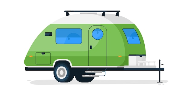 소형 rv 트레일러. 문과 창문이있는 캠핑카 차량 모바일 홈. 여름 여행 및 휴가 용 rv 트레일러 차량