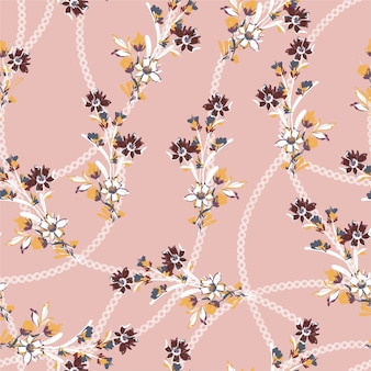Small scale of brush stroke with polka dots chain sweet mood and tone seamless pattern