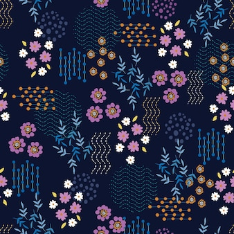 Small scale of floral seamless patterns mix with geometric flower shape and line dots