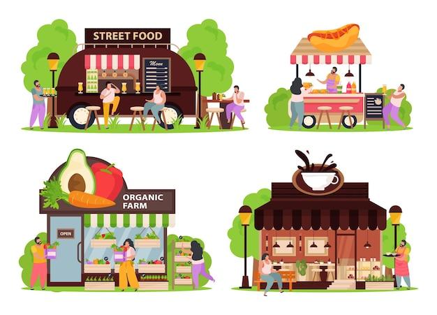 Icone di concetto di piccolo negozio messe con piatto di cibo di strada isolato