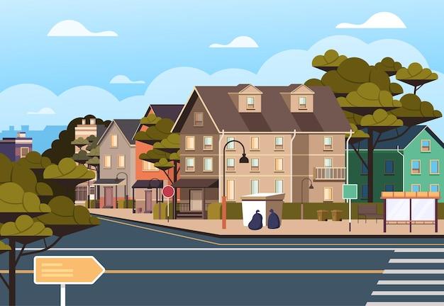 Маленький городок городские дома улица простая концепция