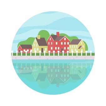 小さな町の家の風景と川のベクトル図