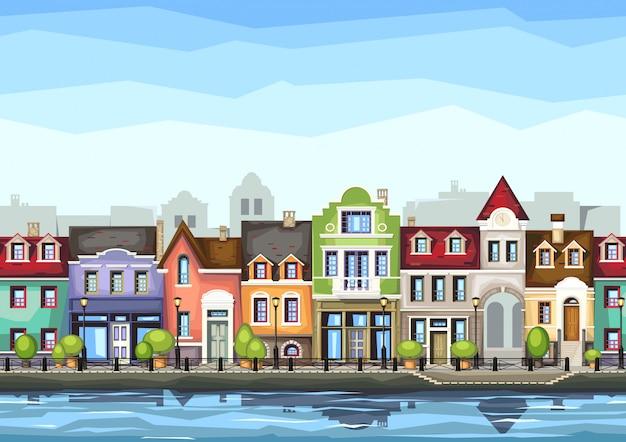 Улица маленького городка с. иллюстрация стилизованный красочный городской пейзаж. старый город