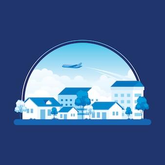 비행기가 푸른 하늘, 집, 나무 위를 지나가는 작은 마을