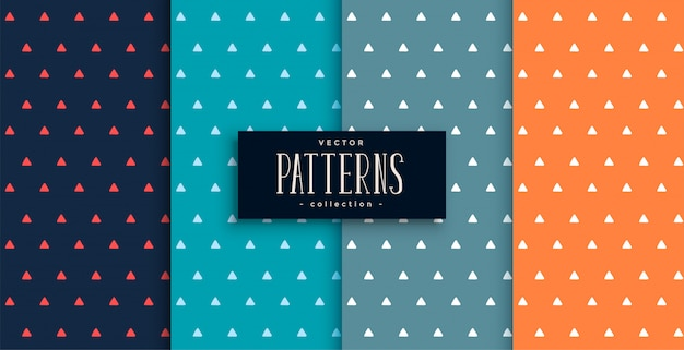 Small triangles cute patterns set in four colors