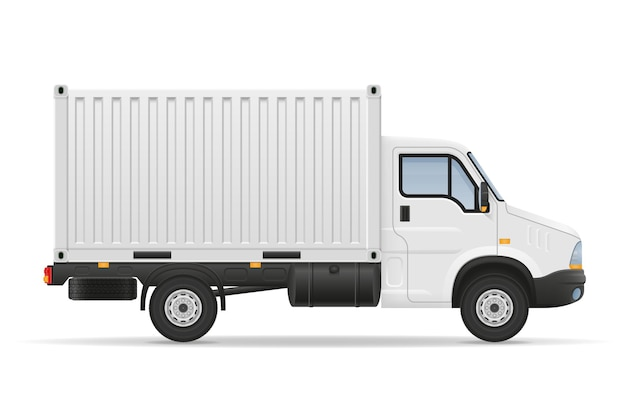 Small truck van lorry for transportation of cargo goods on white