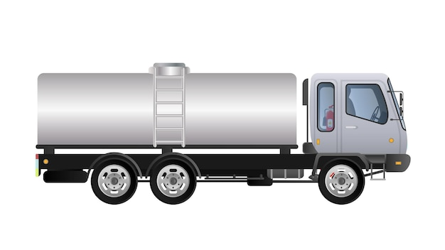 Small truck with canister side view. delivery of cargo. solid and flat color design. white truck for transportation. separate on a white background.