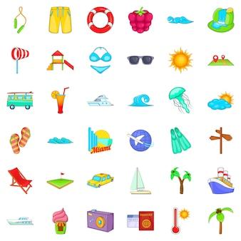 Small vacation icons set, cartoon style