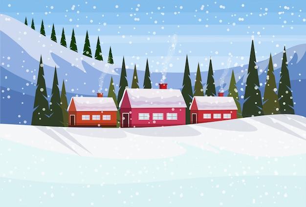Небольшая деревня в снежных горах