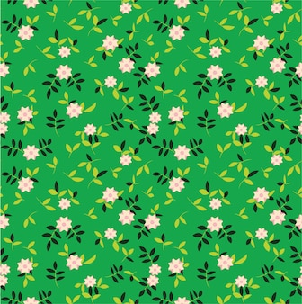 Small vintage floral seamless pattern with green background premium
