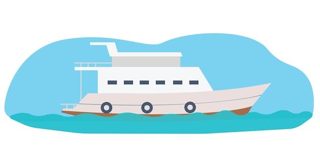 Маленькая белая лодка, парусная по морю