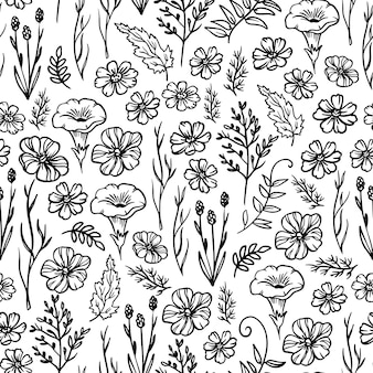 Small wild flower monochrome floral sketch with campanula and buttercup buds seamless pattern