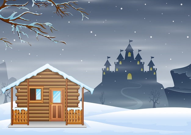 A small wooden house and silhouette castle on the hill