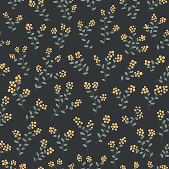 Small yellow berries and leaves seamless pattern vector fruits
