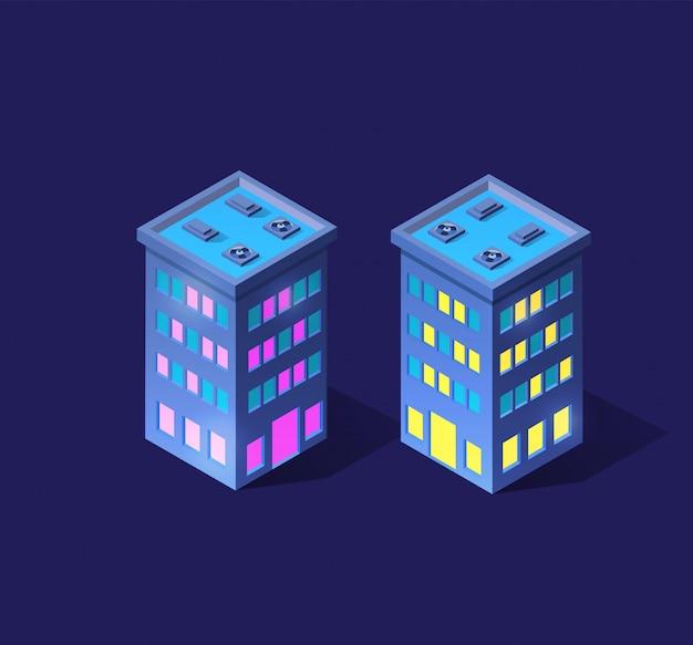 Smart 3d illustration city on a purple ultraviolet