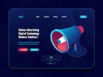 スマート広告オンラインのコンセプト、拡声器メガホンアイソメトリックアイコン、プロモーションソーシャルメディアダーク