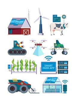 スマート農業。農業ロボットのための将来の乗り物は、農民のための電子ツールをドローンし、平らな写真をベクトルします。農業、農業、収穫のイノベーションの図におけるスマートな未来産業
