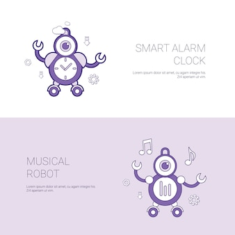 Smart alarm clock and musical robot concept template web banner with copy space