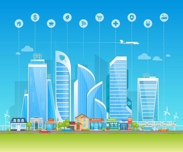 Умный и экологичный город. современный высокотехнологичный городской пейзаж с небоскребами, уличным розничным магазином, скоростным поездом, автомобильным движением. экологически чистые технологии окружающей среды пейзаж мультяшный вектор