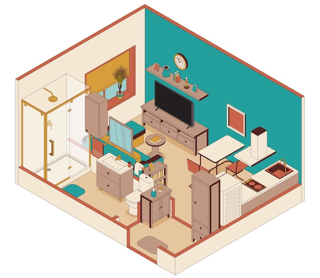 Smart apartments in isometric style. living room and kitchen, bathroom