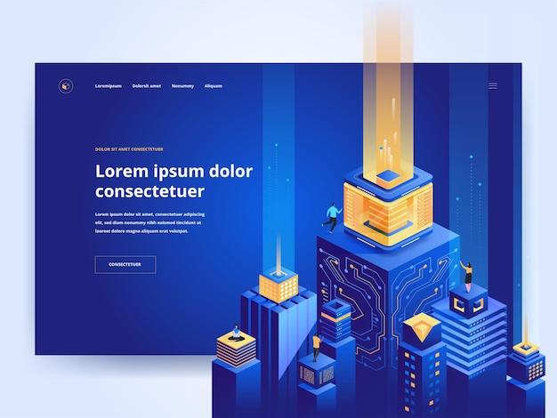 스마트 아키텍처 블루 방문 페이지 템플릿입니다. 아이소메트릭 벡터 삽화가 있는 미래 도시 웹사이트 홈페이지 ui 아이디어. 디지털 기술, 가상 데이터베이스 웹 배너 어두운 색상 3d 개념
