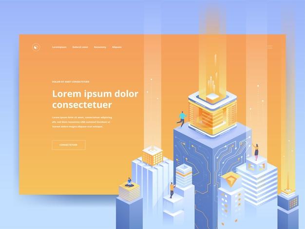 스마트 아키텍처 오렌지 방문 페이지 템플릿입니다. 아이소메트릭 벡터 일러스트와 함께 디지털 도시 웹사이트 홈페이지 ui 아이디어. 미래 기술, 가상 데이터베이스 웹 배너 밝은 색상 3d 개념