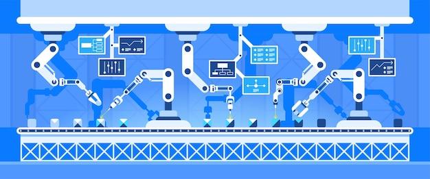 스마트 조립 공정 기술. 미래형 공장 기계, 첨단 장비