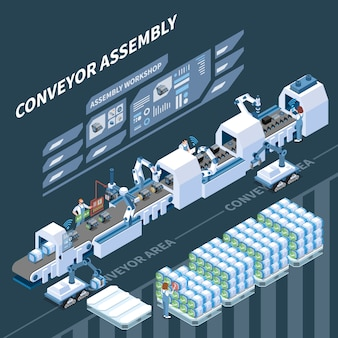 Smart assembly line with robotic equipment and augmented reality operations isometric composition on dark