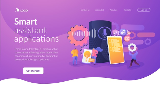 Smart assistant applications landing page template