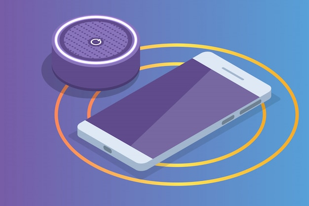 Smart assistant speaker, voice control isometric concept.  illustration