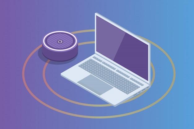 スマートアシスタントスピーカー、音声制御等尺性概念。図 Premiumベクター