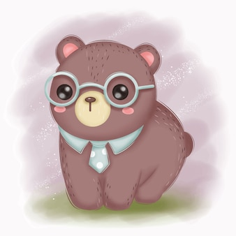Smart baby bear with glasses illustration for nursery decoration