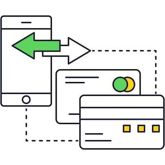 온라인 금융 운영을 위한 스마트 은행 앱 벡터입니다. 모바일 뱅킹 계좌. 결제를 관리하는 스마트폰의 전자 지갑