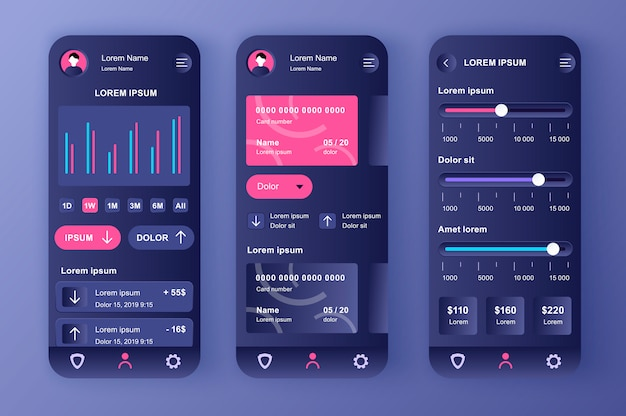 Smart banking unique neomorphic  kit. financial app for credit card balance, analytics and payment limits settings. online bank account ui, ux template set. gui for responsive mobile application