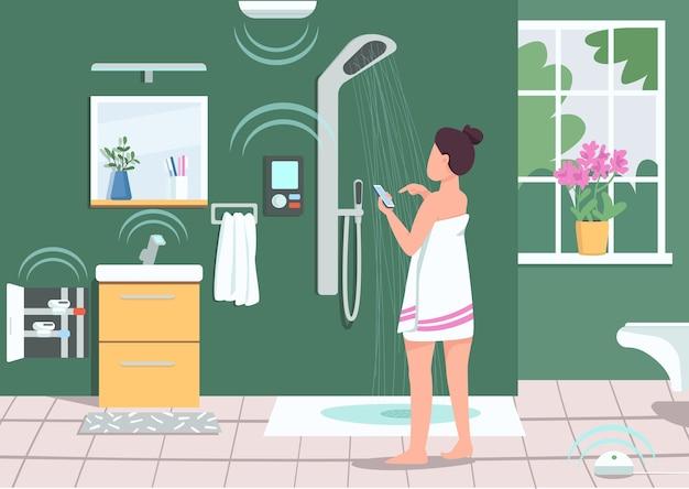 스마트 욕실 기기 평면 색상. 스마트 폰으로 샤워를 제어하는 여자. 가정 생활의 iot. 배경에 화장실과 휴대 전화 2d 만화 캐릭터를 사용하는 여자