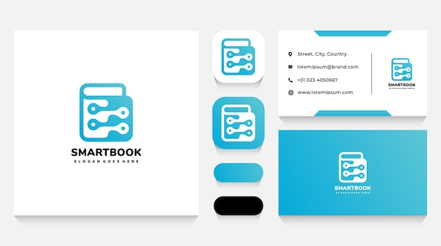 Smart book tech logo template and business card