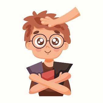 Smart boy with books. vector illustration in flat style