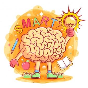 イラストの素晴らしいアイデアイラストとスマートな脳