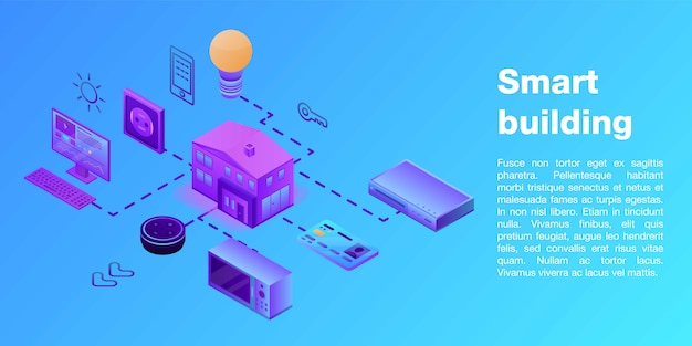 Smart building concept banner, isometric style