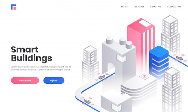 Smart building concept based landing page design with isometric illustration of skyscraper buildings on white background.