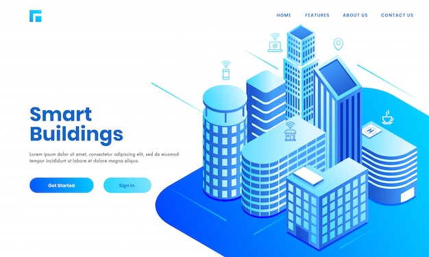 Smart building concept based landing page design with isometric real estate buildings area showing residentials, hospital and commercial space.