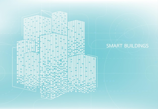 Концепция интеллектуального здания для интеллектуального использования в интернете, журнале или плакате. векторная иллюстрация