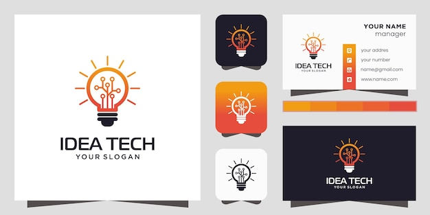 Smart bulb tech logo icon and business card